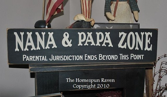Nana and Papa Zone Primitive Handpainted Wood Sign Plaque grandparents