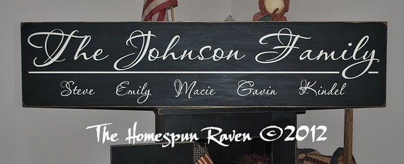 Custom Family Name Handpainted Primitive Wood Sign 12x36 Plaque Established You Choose It all NEW LARGER SIZE
