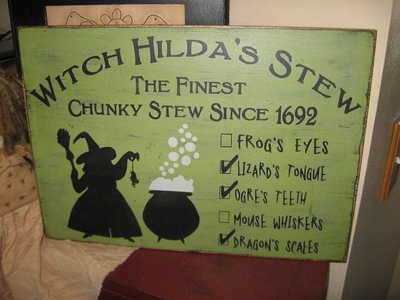 Witch hilda 39 s stew handpainted primitive wood sign wall for Pagan decorations for the home
