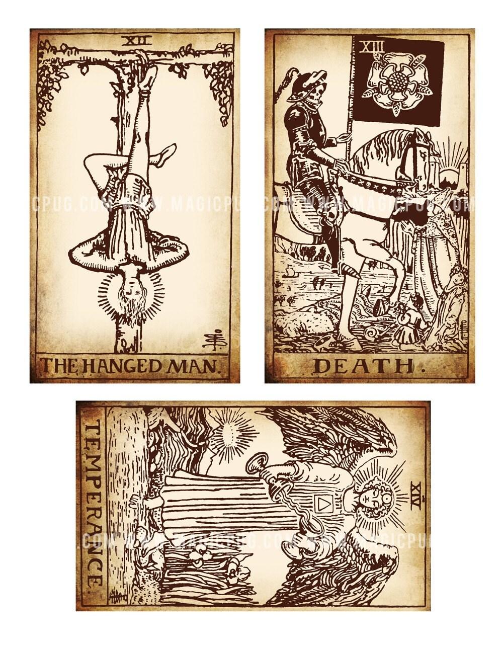 Printable Tarot Deck A Tarot Card Deck And Printable: Antique Printable Tarot PDF Digital Collage Sheet Altered