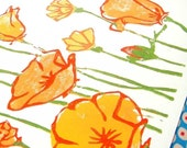 California Poppies - Linocut Fine Art Print