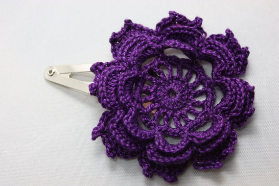 Crochet Hair Clip Deep Purple