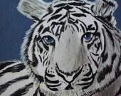 ACEO Original Acrylic Painting White Bengal Tiger Animal ATC