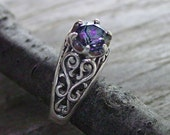 6mm Rainbow Topaz Sterling Silver ring - ANY SIZE - Creative Mode