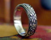 Sterling Silver Sprial and Flower Ring - Custom Ring for Michele