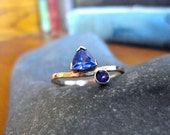 Asymmetrical Tanzanite and Amethyst Gold Ring - Creative Mode