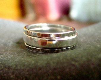 Hammered Triple Stacker CUSTOM sterling silver rings - Creative Mode