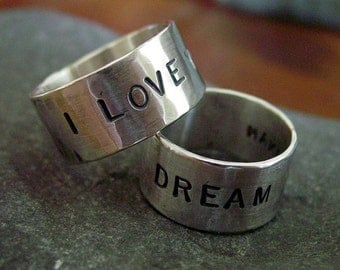 10mm WIDE Band Sterling Silver Sentiment Ring - ANY SIZE - Creative Mode
