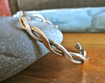 Sterling Silver and Gold Filled Twisted Cuff Bracelet