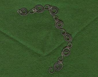 Silver Swirls Bracelet in gunmetal gray