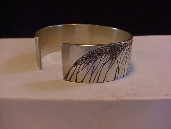 Large Windswept Trees Cuff in Silver