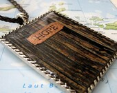 Large Hope Pendant on Black Braided Cord