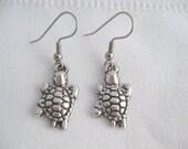 Lovable silver turtle hook dangle charm earrings