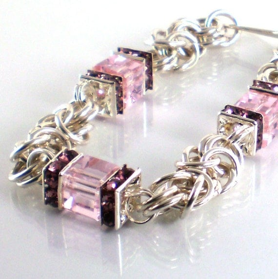 Handmade Bracelet Chainmaille Pink Emphatically Rose