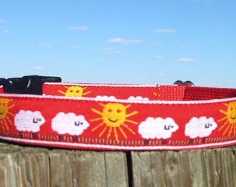 Dog Collar with Sheep Herding Theme - RED dog collar - buckle collar or martingale - fleece lined or plain