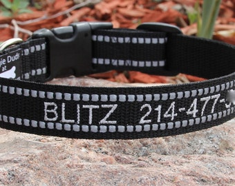Personalized REFLECTIVE ID Dog Collar - Adjustable Embroidered Dog Collar - Identification - Reflective Dog Collar - Plain or Fleece Lined
