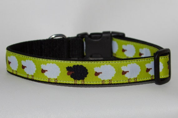 Dog Collar with Sheep Theme - Herding Dog Collar - Sheep Herding - Black Sheep