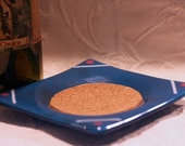 Blue Fused Glass Wine Bottle Coaster with Cork Inset