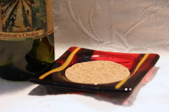 Fused Glass Wine Bottle Coaster with Cork Inset