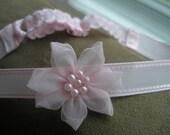 Pink Flower Adjustable Baby Headband