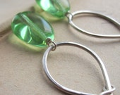 Mojito Earrings - glass  beads and hand forged sterling silver