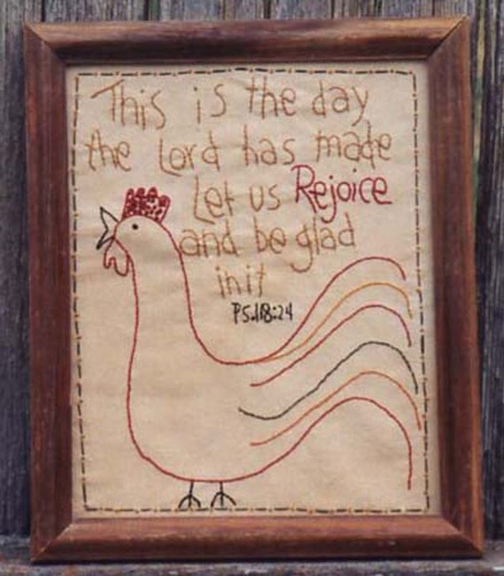 Primitive Stitchery Pattern - Rejoice Instant Download #1547