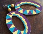 Zig Zag and Diamond Hand Painted Wooden Beaded Dangle earrings