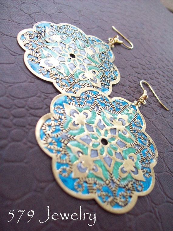 Large Indian Turquoise Batik Dangle Earrings