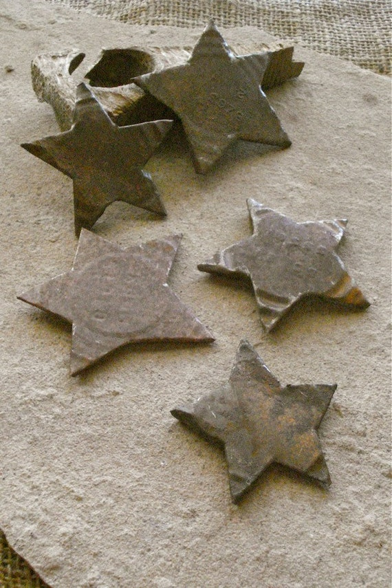 Primitive Rustic Vintage Rust Metal Star Decorations