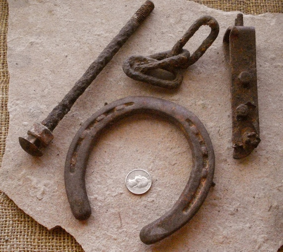 Western Salvage Horse Shoe Rust Metal Wagon Parts Reclaimed Found Objects Decor. Assemblage, Altered Art