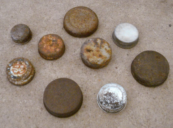 Rusty Oxidized Recycled Metal Round Bottle Tops Lids Found Object  Primitive Assemblage or Altered Art