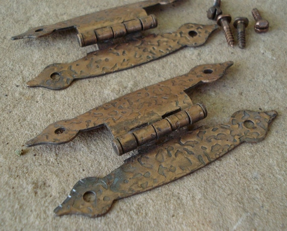 Vintage Hammered Copper Cabinet Drawer Hinges 1950's Rustic Cabin Colonial Style
