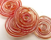 4 Red Disc Beads