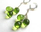 Green Teardrop Earrings, Silver Earrings, Olive Green Glass Drop Trios, Lever Back Ear Wires, Grassy Green Smooth Drops, Handmade, Clover