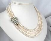 Three Strand Bridal Necklace, Vintage Rhinestone, Pearl Necklace, Silver, Handmade, Beverly