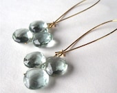Icy Green Earrings, Pale Green Quartz, Long Gold Earrings, Light Blue Green, Handmade, Pale Tara Gold