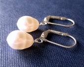 White Pearl Teardrop Earrings, Silver, Bridal Earrings, Handmade, Plump Pearl Drop Earrings