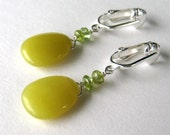 Chartreuse Clip On Earrings, Yellow Green Serpentine and Citrine Clipons, Silver Ear Clips, Handmade, Lulu