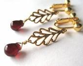 Garnet Red Clip On Earrings, Brass Leaf Earrings, Gold Screw Back Ear Clips, Dark Red Glass Drops, Golden Leaves, Handmade, Mariana Clipons