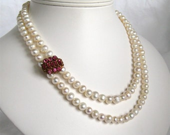 Pink Rhinestone, 2 Strand Pearl Bridal Necklace, Gold Necklace, Freshwater Pearl, Handmade, Hortense