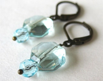 Aqua Quartz Earrings, Antiqued Brass Lever Back Earrings, Light Blue Faceted Glass, Pale Blue Glass Octagons, Handmade, Estella