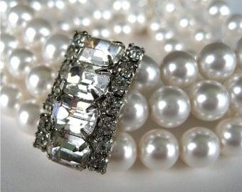 Pearl Bracelet, Vintage Rhinestone, Silver, 3 Strand Bracelet, Handmade, Vienna