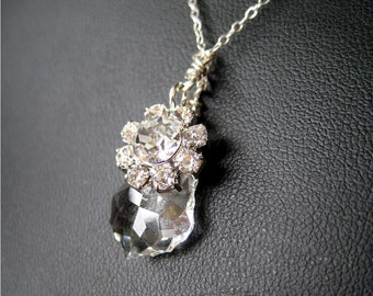 Sterling Silver Necklace, Clear Crystal Drop, Rhinestone Flower, Handmade, Little Bloom
