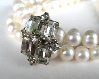 Pearl Rhinestone Bracelet, Old Hollywood Glamour, Two Strand Pearl Bridal Bracelet, Vintage Clear Rhinestone Silver, Handmade, Tracy