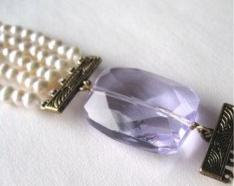 Pearl Bracelet, Light Purple Crystal, Antiqued Gold, 5 Strand Freshwater Pearl, Handmade, Maria