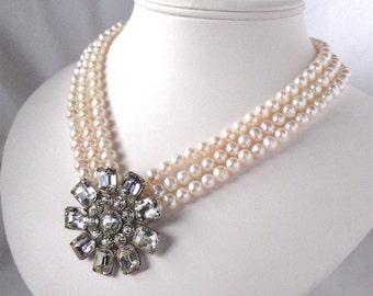 Ivory Pearl Necklace, Rhinestone Flower, Three Strand, Silver, Handmade, Modern Bride
