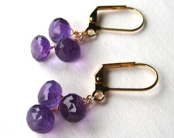 Amethyst Earrings, Purple Gemstone Onion Briolettes, Gold Lever Back Earrings, Handmade, Amethyst Teardrops