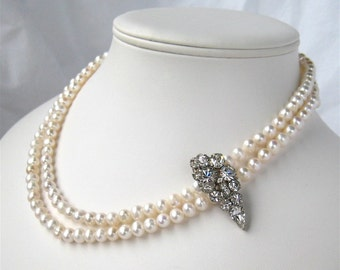 Two Strand Pearl Necklace, Vintage Rhinestone Silver Bridal Necklace, Handmade, Simone