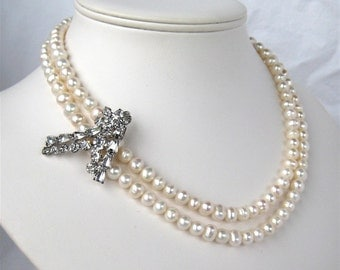 Rhinestone Pearl Necklace, Two Strand Freshwater Pearl Bridal Necklace, Silver, Handmade, Thomasina