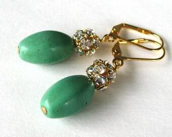 Apple Green Rhinestone Earrings, Gold Earrings, Aqua Green Bead Earrings, Lever Back Ear Wires, Handmade, Pauline